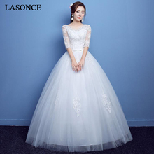 LASONCE Sequined V Neck Bow Sash Ball Gown Wedding Dresses Lace Appliques Illusion Half Sleeve Backless Bridal Gowns все цены