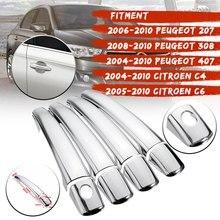 1 комплект хромированные дверные ручки Накладка для peugeot 2008 2010 207 308 407 для CitroenC4 C6 C4 PICASSO стайлинга автомобилей