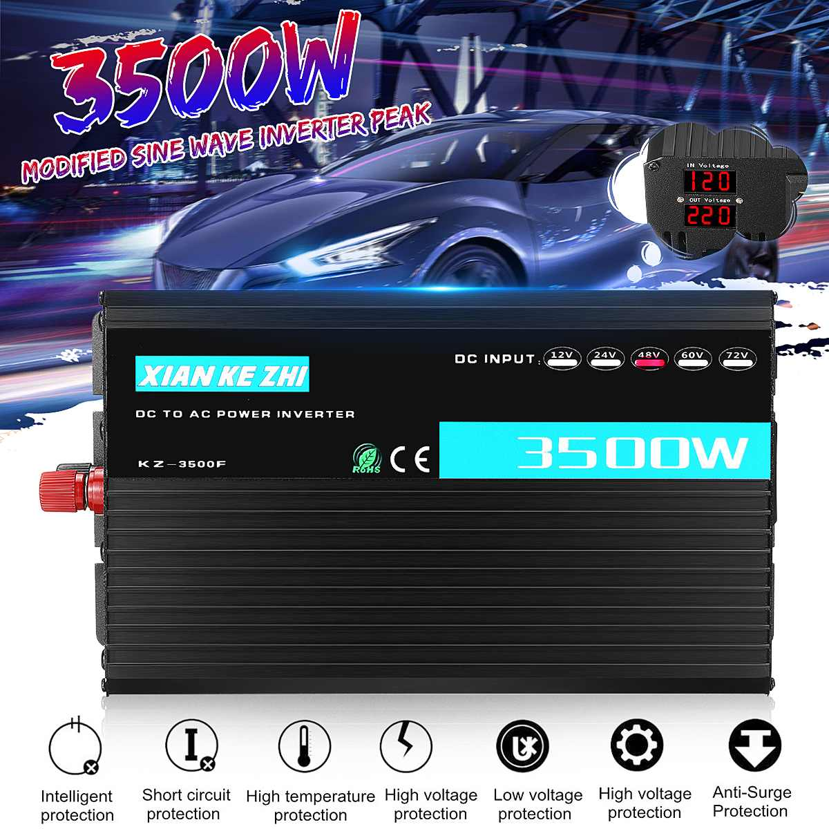 Dual Display Intelligent 3500W Modified Power Inverter 12/24/48/60/72V TO 220V LED Display Power Converter Multi ProtactionDual Display Intelligent 3500W Modified Power Inverter 12/24/48/60/72V TO 220V LED Display Power Converter Multi Protaction