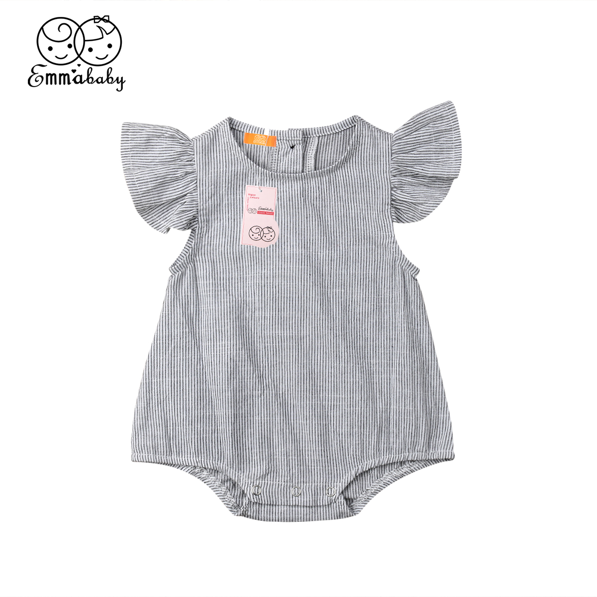 2019 Brand New Newborn Baby Girls Clothes Cotton Striped Romper Jumpsuit Outfit  Summer