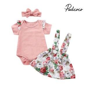 夏女の赤ちゃん服セット子供用セットのベビー用品ピンクロンパース + オーバーオール子供服 2019 服