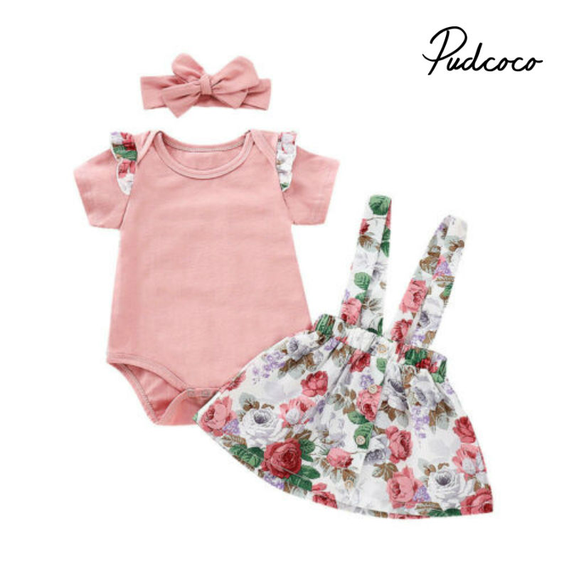 Summer Baby Girls Clothes Set Children Clothing Sets Baby Products Pink Rompers+Overalls Tracksuit Kids Clothes 2019 Clothing
