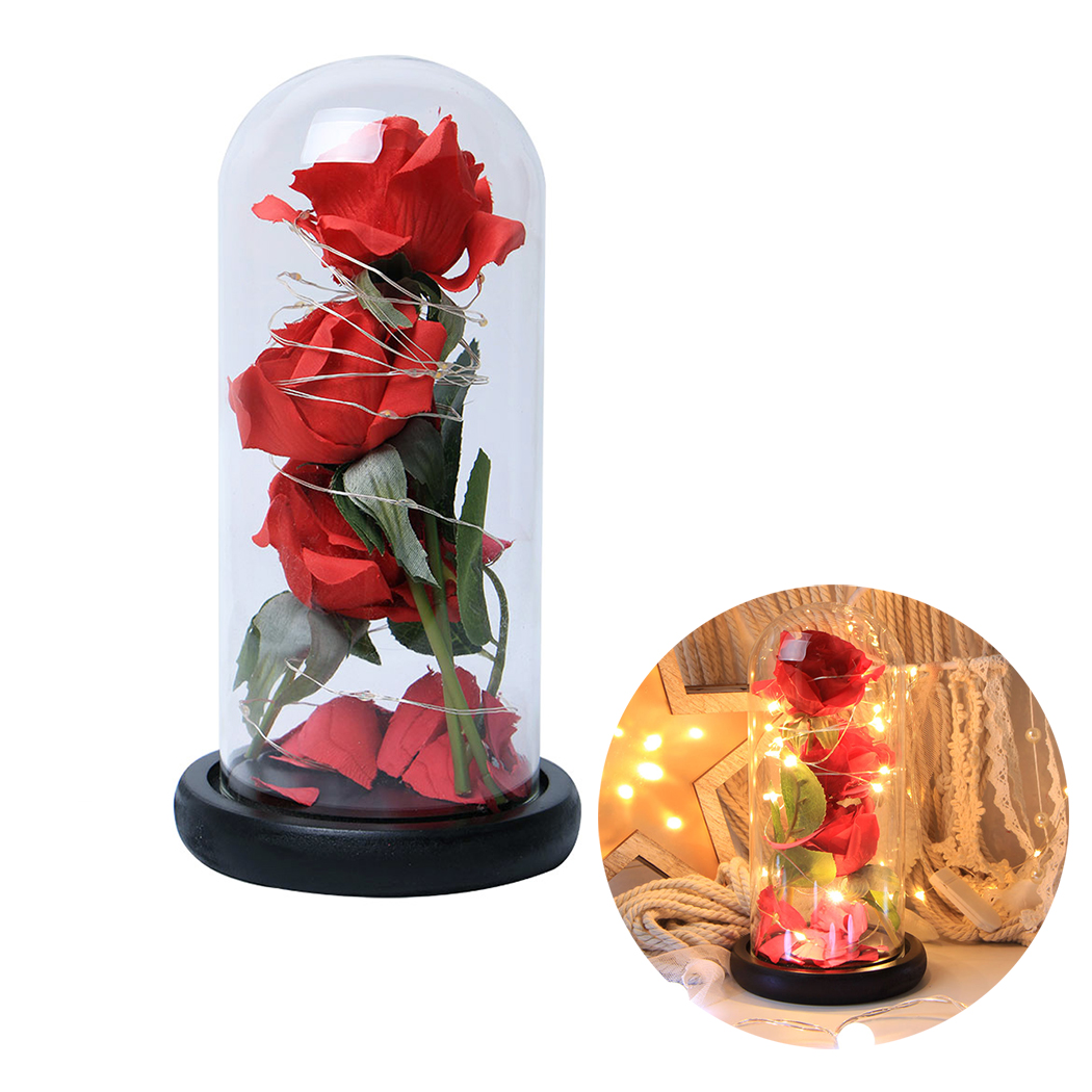 Romantic Valentine s Day Gift Decoration Rose With Lights Three Simulation Rose Glass Covers With LED