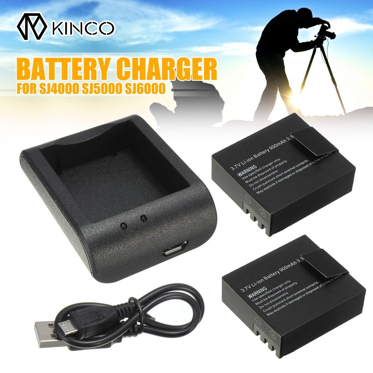 KINCO 2x3.7 V 900 mAh batterie li-ion + câble usb chargeur de bureau De Charge Pour Les Sports D'action Caméra DVR SJ4000 SJ5000 SJ6000