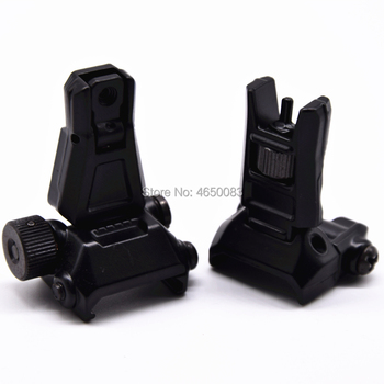 цена на 1 Pair Adjustable 20mm Track Tactical Hunting Flip Up Front Rear Rapid Transition Backup Iron Sight Set For AR15