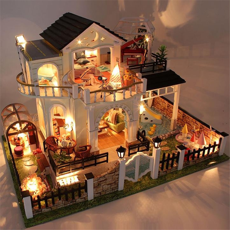Miniature Music 3D Wooden Dollhouse Toy Model Simulation Villa Swimming Pool Doll House Furniture Kit With LED Light Dust CoverMiniature Music 3D Wooden Dollhouse Toy Model Simulation Villa Swimming Pool Doll House Furniture Kit With LED Light Dust Cover