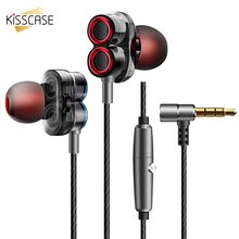 KISSCASE In-Ear 3.5mm Earphone For iPhone Dual Drive Headset For Huawei HIFI Sports Dynamic Stereo Earphone For Samsung Earbud цена и фото