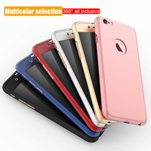 360 Full Cover Phone Case For iPhone X 8 6 6s 7 Plus 5 5s SE PC Protective Cover For iPhone 7 8 Plus Case Cover With Glass