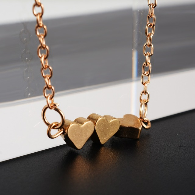 Three Love Heart Pendant Colar Necklace Womens Fashion Luxury Brand Choker State