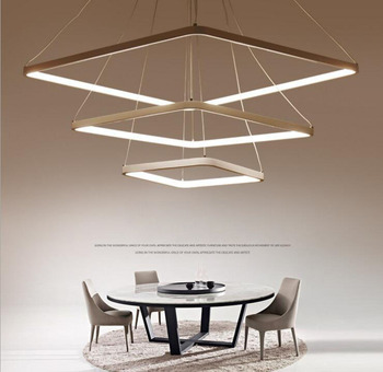 Nordic Rectangular White Simple Pendant Light Acrylic Circular Dining Room Lighting Modern Living Room Office Lamp Led Lighting