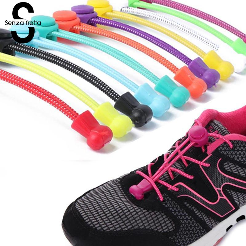 Spirited Senza Fretta 1 Pair Shoelaces No Tie Locking Round Shoelaces Elastic Shoelace Sneaks Shoe Laces For Boys And Girls Dop9694 Delaying Senility Shoelaces