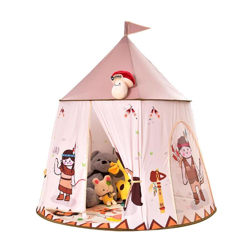 Children Play Tents Portable Kids Cartoon Horse Tent House Baby Indoor Outdoor Play Game Tent House Princess Hang Flag Castle