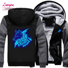 LUOGEN Drop Shipping US SIZE Mens Wolf Hoodie Jackets Luminous Glowing Hoodies Sweatshirts Men Winter Thicken Streetwear Coats