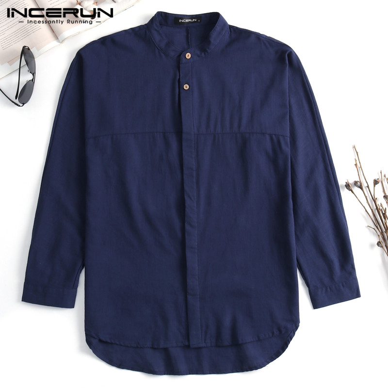 INCERUN Mens Casual Shirts Dress Three Quarter Sleeve Crew Neck Male Tee Tops Cotton Shirts Camisas Masculina Mens Clothing