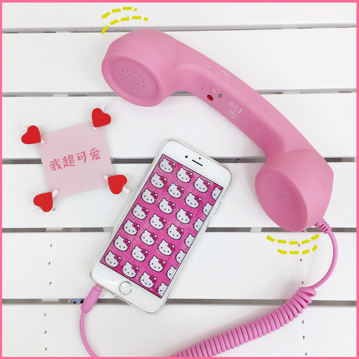 Lovely Pink Color Vintage Phone Headset Mobile Phone/Telephone Receiver Can Adjust Volume Answer The Phone 3C Toy
