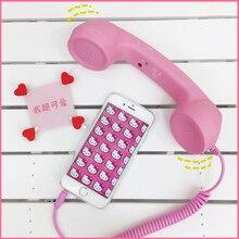 Auriculares Vintage de Color rosa encantador para teléfono móvil/receptor de teléfono puede ajustar el volumen contestar el teléfono 3C de juguete