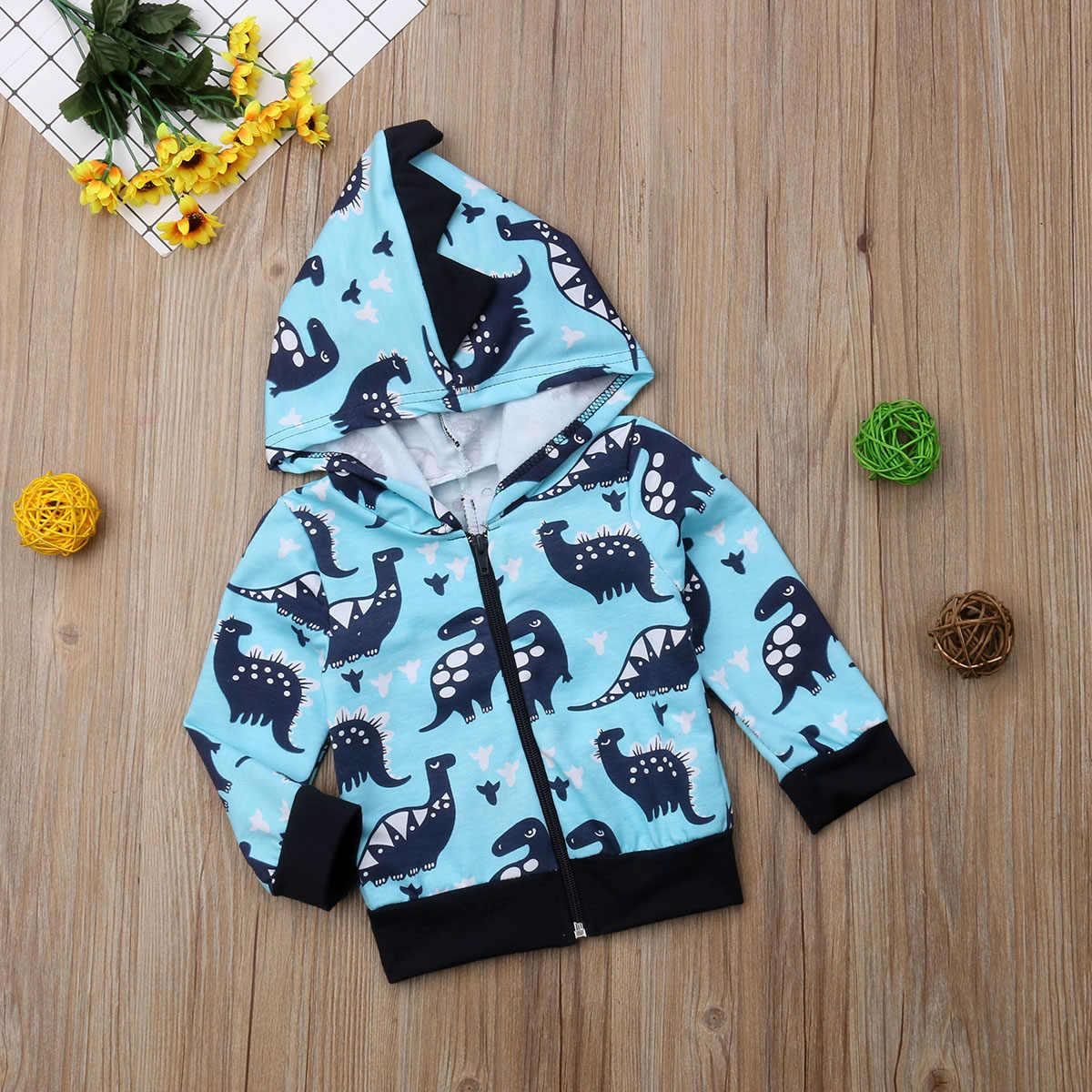 Sveglio Appena Nato Del Bambino Del Bambino Dei Ragazzi di Dinosauro Felpa Con Cappuccio Caldo Blu A Maniche Lunghe Cappotto Felpe Costume Casual Autunno