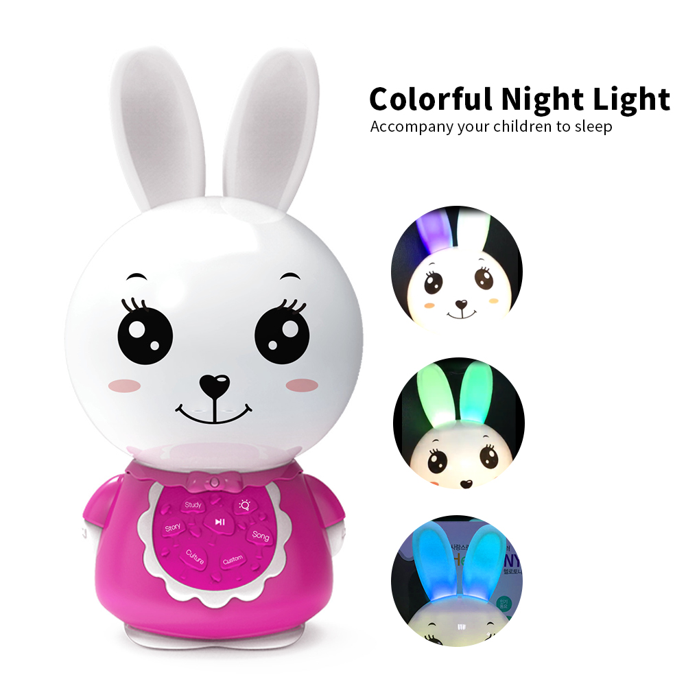 Honey Bunny Musical Toy MP3 Music Player Story Teller Sleep Soother Learning Machine Night Light Interactive Education Kids Toys
