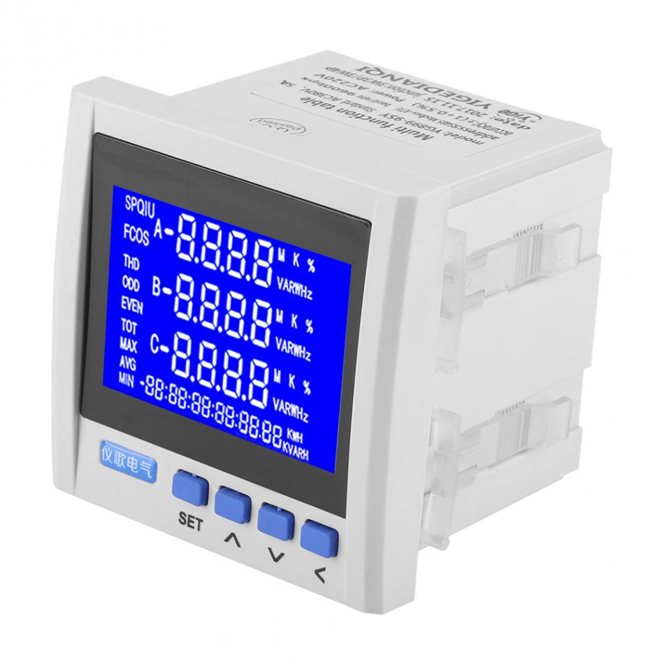 Multifunctional Electric Meter 3 Phase Electric Current Voltage Frequency Power Energy Meter V A Hz kWh
