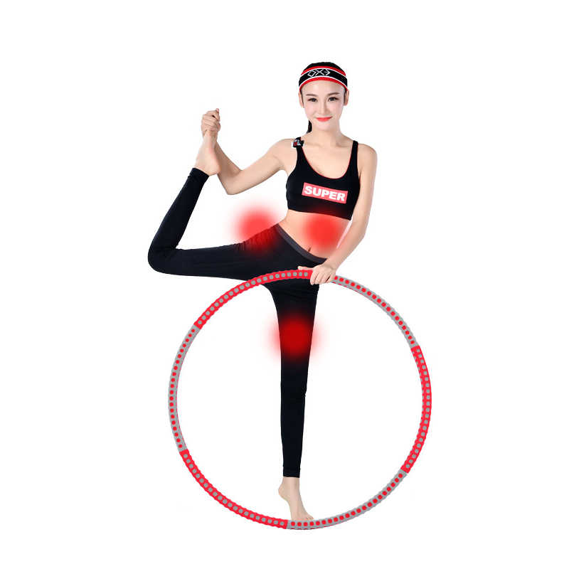 Detachable 6 Sections Foam Stainless Steel Sport Hoop Home Exercise Fitness Crossfit Workout Equipmen Fitness Circle Lose Weight