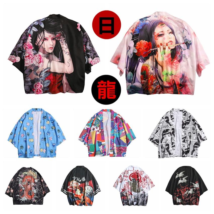 12Color New Japanese Fashion Style Kimono For Adult Traditional Haori Clothing Print Chinese Dragon Thin Samurai Men Women Robes