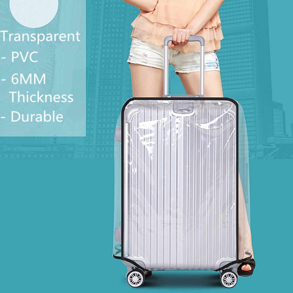 AEQUEEN Waterproof Luggage Cover Transparent PVC Trolley Suitcase Cover DustProof Luggage Protective Cover Travel Case 20-30inch