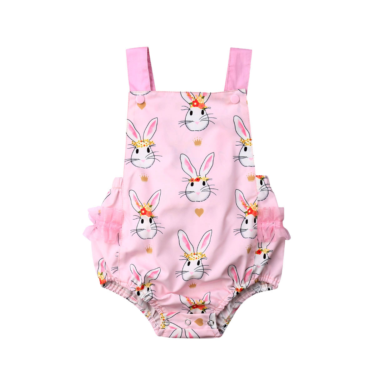 Cute Newborn Baby Girl Easter Rabbit   Romper   Sleeveless Backless Jumpsuit Outfit Clothes Playsuit