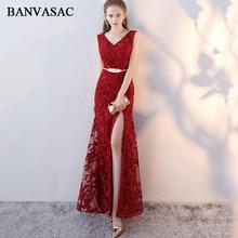 BANVASAC 2019 Elegant Lace Appliques V Neck Split Mermaid Long Evening Dresses Party Metal Sash Backless Prom Gowns