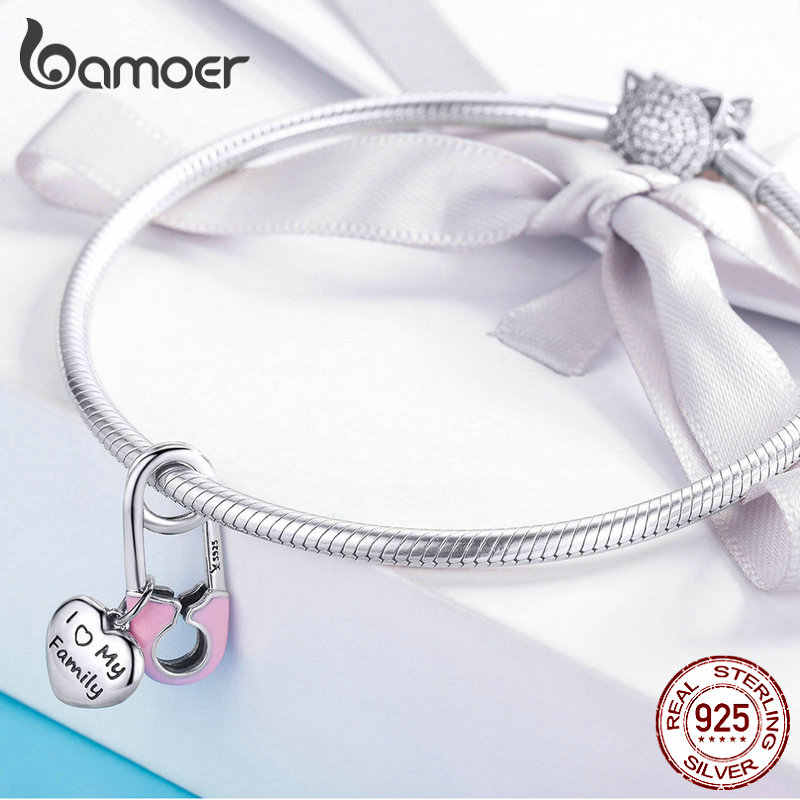 BAMOER Designer Sterling Silver 925 Pink Enamel Pink Family Heart Charms for Beads Bracelet and Necklace Pendants SCC1145