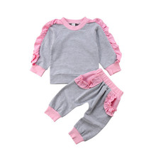 VTOM Baby Girls Sets Baby Clothes Autumn Newborn Infant Kids Long-sleeved T-Shirt Tops+Pants 2PCS Set Baby Clothes 2017 autumn new born baby girls clothing sets infant long sleeved letter cotton t shirt