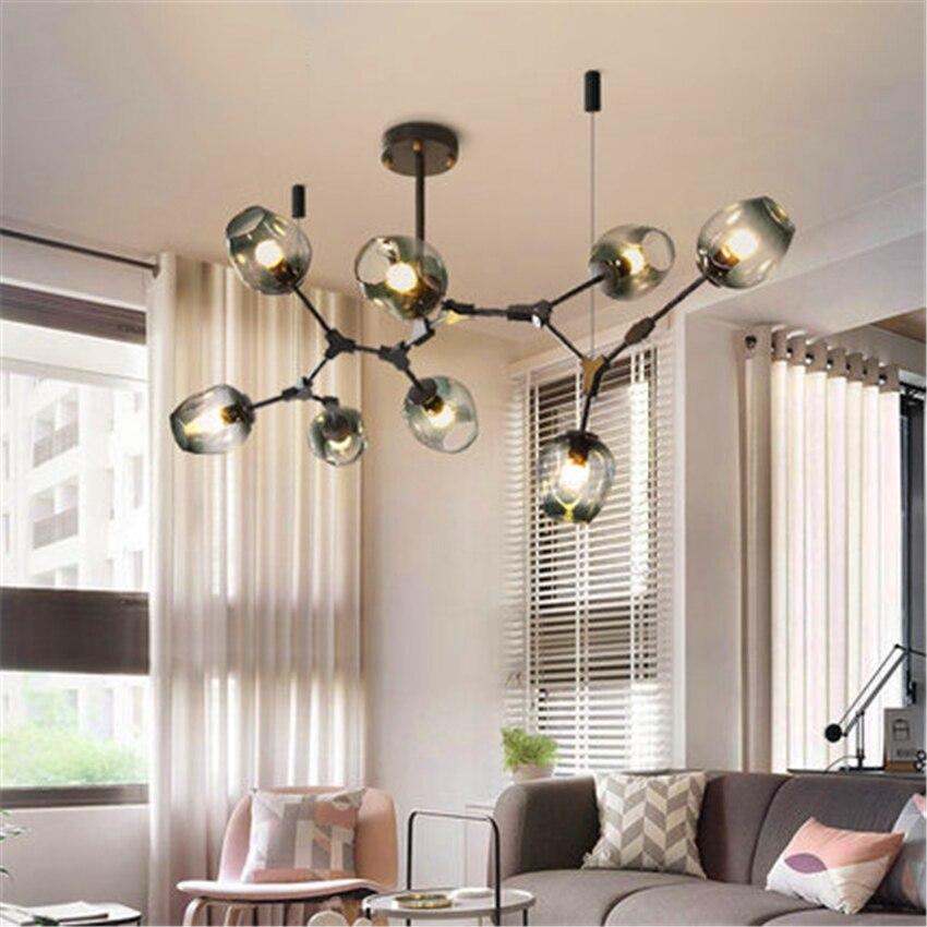 Modern Loft Iron Glass LED Chandelier Lighting LED Pendant Lamps Lights Italian Hanging Lamps Dining Room Kitchen Avize Fixtures