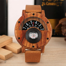 Chic Wooden Mens Watches Quartz Sport Compass Design Creative Turntable Semicircle Display Dial Luxury Cool Business Watch Gift