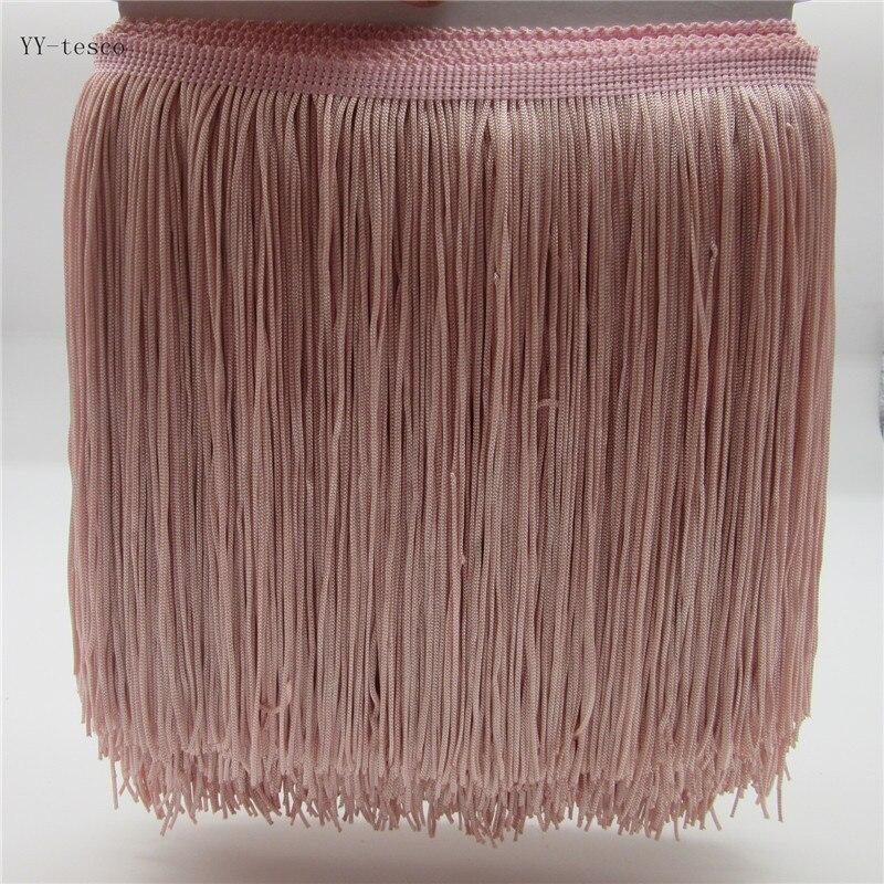 YY-tesco 5 Meter 20cm Width Lace Fringe Tassel Leather Pink Fringe Lace Trim Ribbon Sew Latin Dress Stage Garment Accessories
