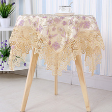 Luxury65*65/90*90 Square Lace Exquisite Embroidery Flowers Tablecloth TV Bedside Dining Doilies Cover Home Kitchen Table Decor