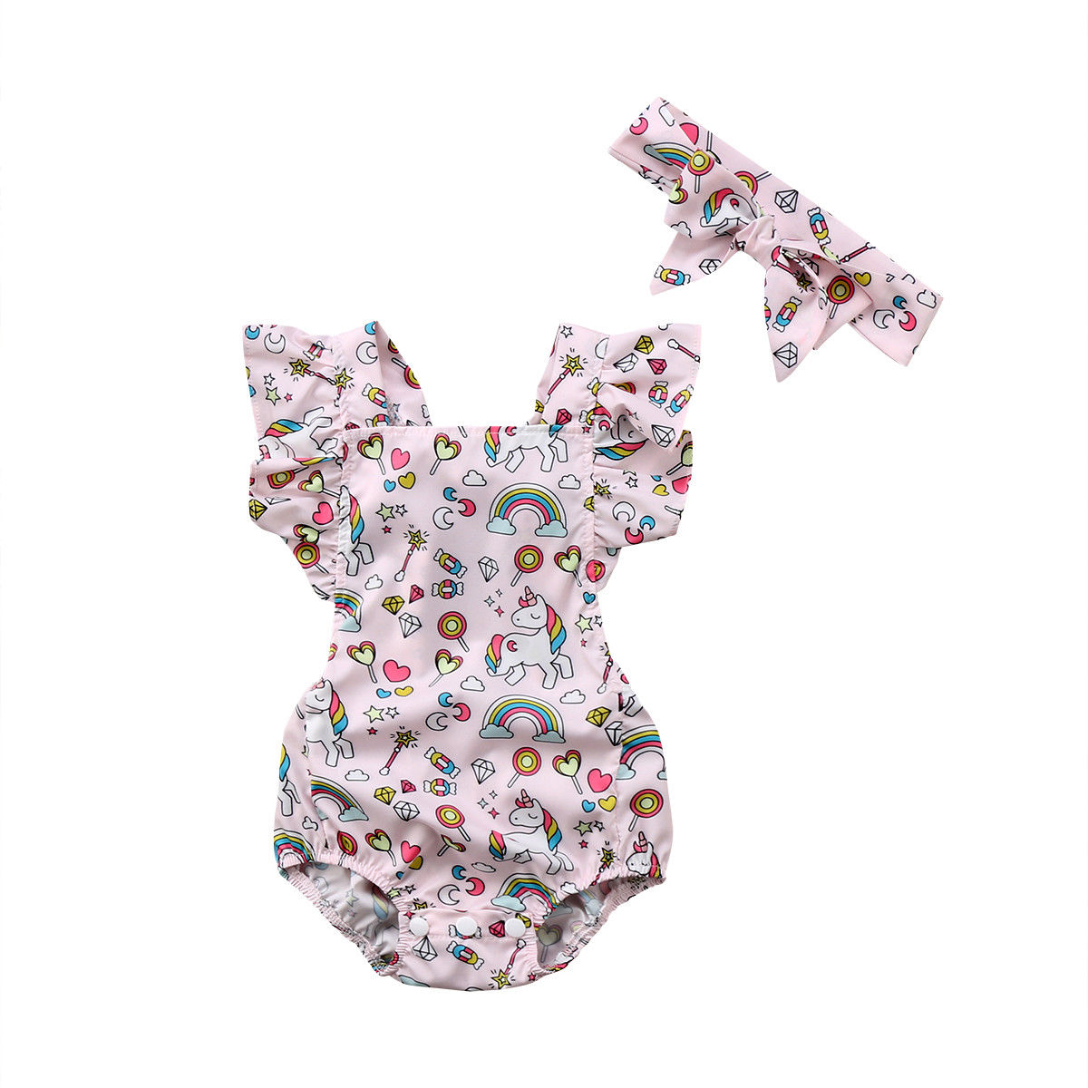 2PCS Summer Toddler Baby Girls Clothes Belt Cartoon Rainbow Unicorn Print Playsuit Baby   Romper   Headband Outfits Set