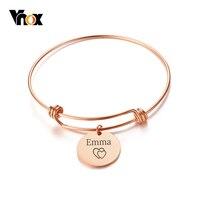 Vnox Coin Charm Vervangbaar Bangle Armband Gratis Custom Graveren Naam Liefde Rvs Beste Vriendschap Gepersonaliseerde Gift