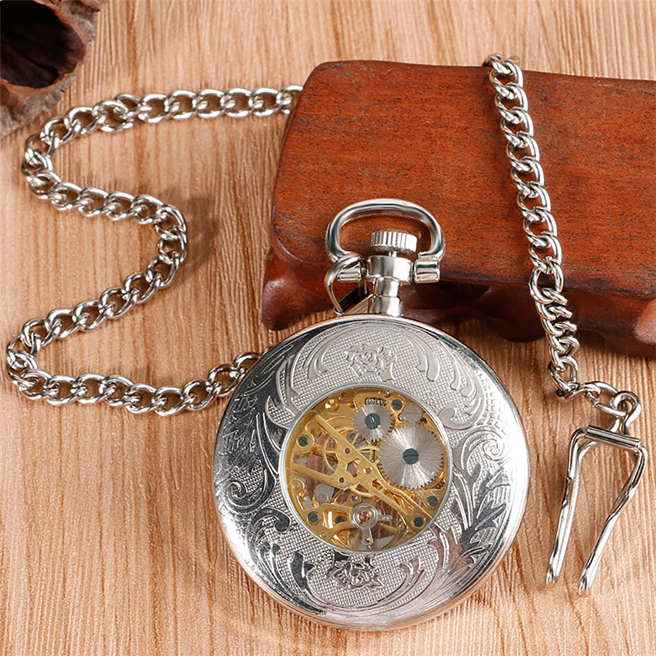 Купить с кэшбэком Silver Open Face Roman Numerals Mechanical Pocket Watch Steampunk Watch Chain Hand Winding Vintage Watch Gifts Men Women reloj