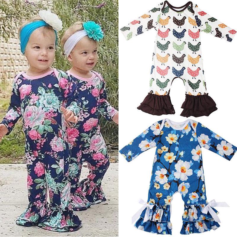 Ruffles Newborn Baby Girls Boutique Icing Cotton Flower Romper Bodysuit Outfits