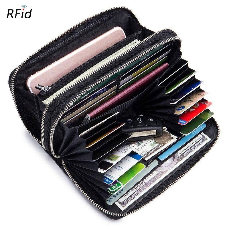 Large-Capacity Men's Long Wallet Multi-Card Sheepskin Double Zipper Weaving Wallet Hand Rfid Ladies Europe And America Style