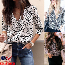 Fashion Women Long Sleeve Leopard Blouse V neck Shi