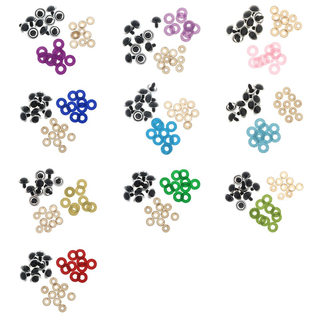 100pcs Plastic Glitter Safety Eyes for Stuffed Toys Scrapbooking Puppet 18mm