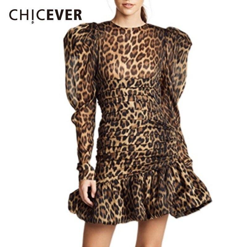 CHICEVER Leopard Women s Dresses Female O Neck Puff Sleeve High Waist Ruffles Mermaid Dress Fashion