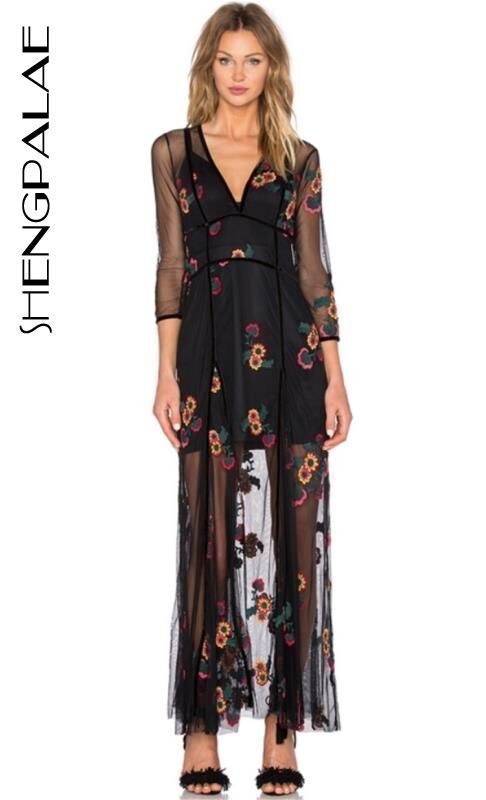 SHENGPALAE Women Maxi Dress In Red Sequin Flowers Spaghetti Straps Underwire Cups Sequined Embroidery Floral Dresses