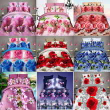 3D Flowers Quilt Cover Bedding Set Bed sheets Duvet Cover Pillowcase Brushed Fabric Rose Lily 4pcs/set Home textile New