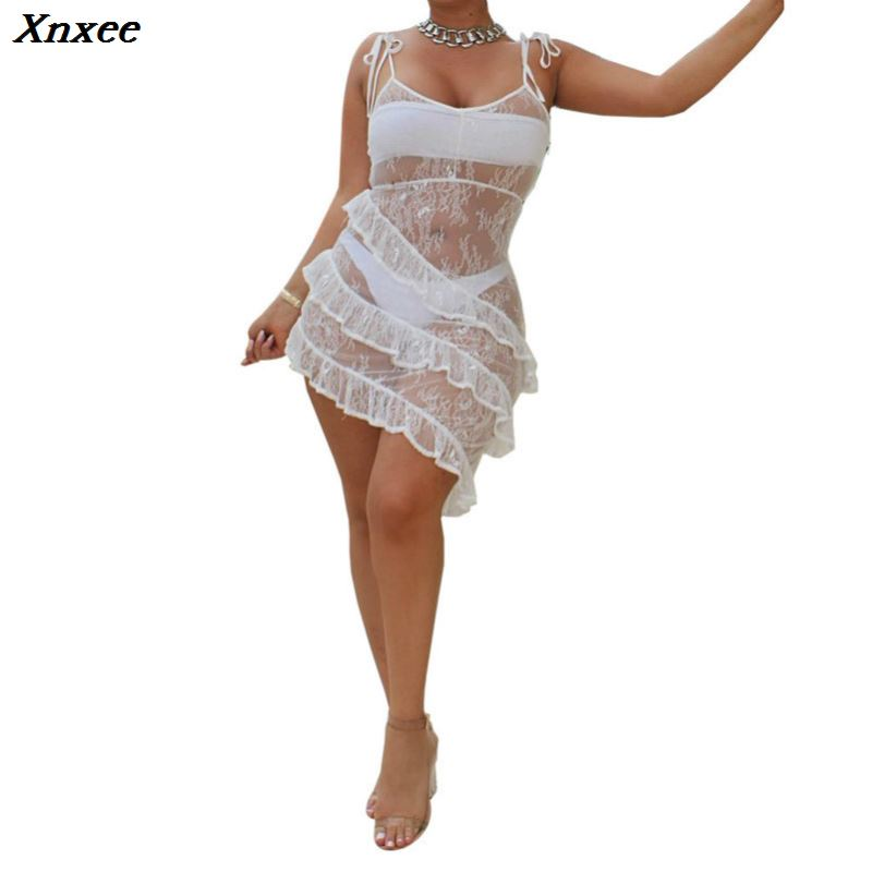 Xnxee black lace sexy transparent dress vestidos sundress fashion dress clothes women vetements suspender dress backless roupas in Dresses from Women 39 s Clothing