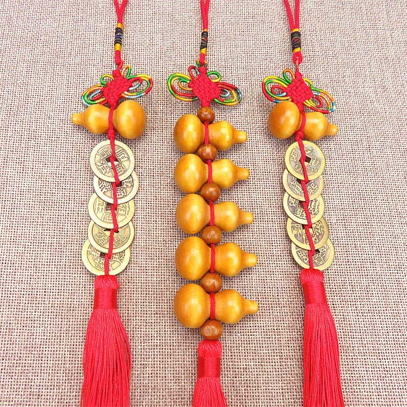 Lucky Charm Ancient Coin 1Pcs Pendant Decoration Car Accessories Keychain Five Emperor Money Copper Coins Red Chinese Knot