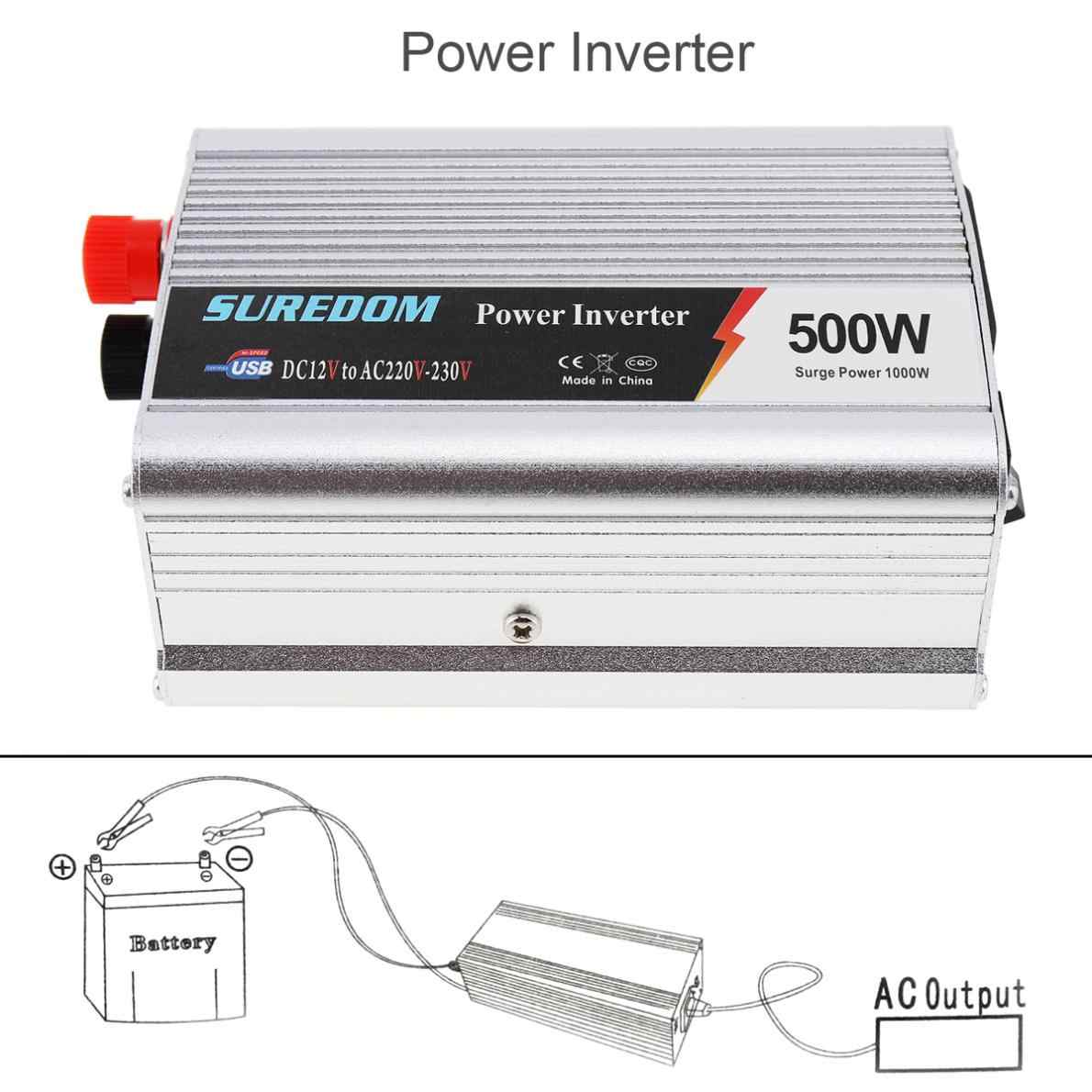 500W Car Inverter DC 12V 24V to AC 220V 110V USB Auto Power Inverter Adapter Charger Voltage Transformer Peak Power 1000W