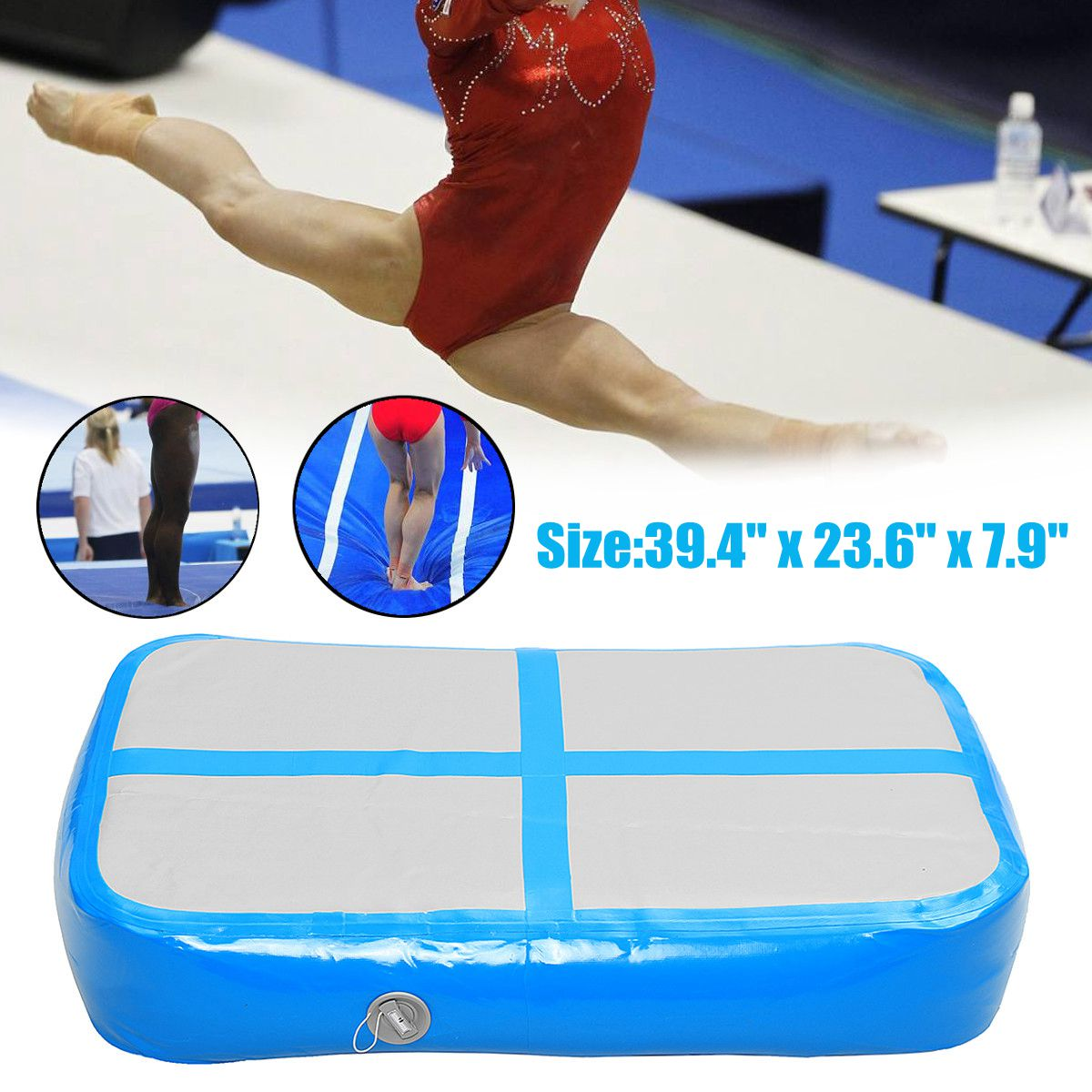 1x0.6x0.2m Inflatable Gymnastics Mat Airtrack Yoga Mattress Floor Tumbling Pad Sport Equipment