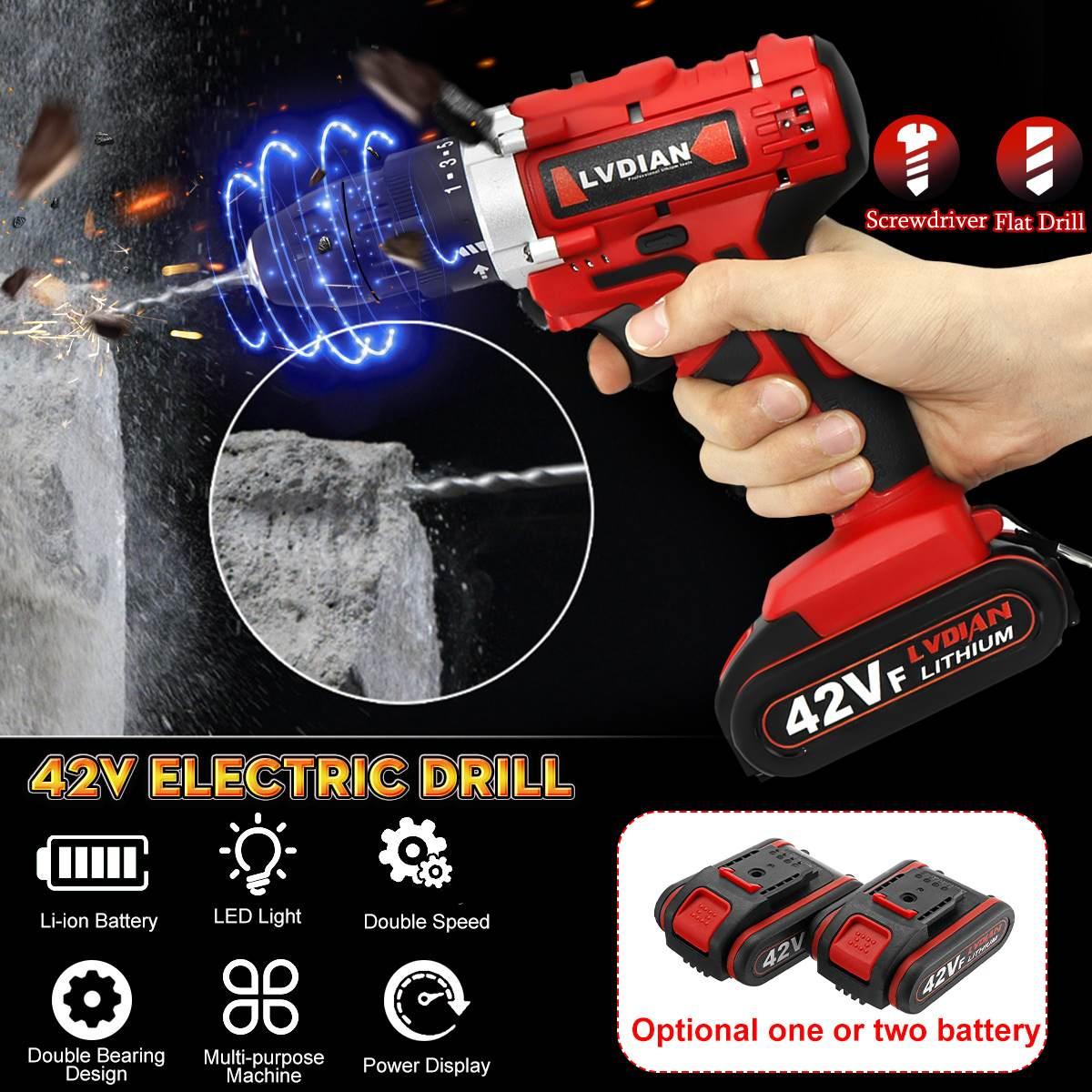 42V 110-240V Electric Cordless Drill Screwdriver 25+1 Torque LED Work Light w/ 2 Battery 10.5x7.5x20.5cm Duplex Bearing42V 110-240V Electric Cordless Drill Screwdriver 25+1 Torque LED Work Light w/ 2 Battery 10.5x7.5x20.5cm Duplex Bearing