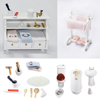 1/12 Scale Dollhouse Miniature Accessory for Bathroom Furniture Set Decoration Kids Pretend Play Toys